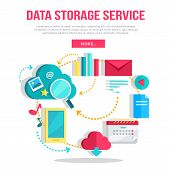 Data storage service banner. Networking communication and data icons on white background. Data protection, global storage and online cloud storage, security and privacy, backup, cloud computing. poster
