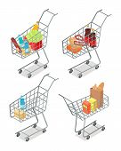 Set of trolleys with food. Supermarket equipment. Food products in shopping trolley flat style. Shopping cart icon, supermarket, food, product grocery and cart shopping, vegetable vector illustration poster