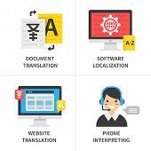 Translation service concept. Document translation software localization website translation phone interpreting. Vector illustration. poster