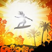 Design of a girl surfing on tropical beach poster