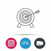 Target with arrow icon. Archery aiming sign. Professional shooter sport symbol. Group of people, video cam and calendar icons. Vector poster