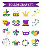 Mardi Gras carnival set  icons, design element , flat style. Collection Mardi Gras, mask with feathers, beads, joker, fleur de lis, comedy and tragedy, party decorations. Vector illustration, clip art poster