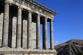 Landscape with Ancient Garni Pagan Temple the hellenistic temple in Republic of Armenia. The Garni Temple is the fine example of the ancient Greek and Roman architecture poster