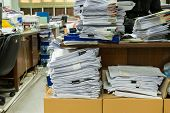 Busy messy and cluttered workplace full of documents poster