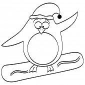 (raster image of vector) penguin surfing poster