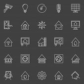 Smart home linear icons. Vector set of home automation outline signs on dark background poster