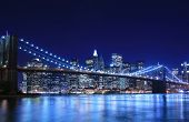 Brooklyn Bridge and Manhattan skyline At Night New York City poster