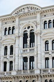 Town hall detail (Comune di Trieste) of Italian seaport Trieste.