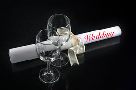 Couple Of Wine Glasses And Wedding
