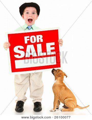 Adorable 3 year old american boy and boxer with red and white for sale sign.  Boy yelling out over white background.
