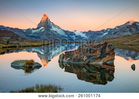 Matterhorn, Swiss Alps. Landscape Image Of Swiss Alps With Stellisee And Matterhorn In The Backgroun