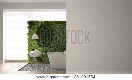 Bathroom With Vertical Garden On A Foreground Wall, Interior Design Architecture Concept With Copy S