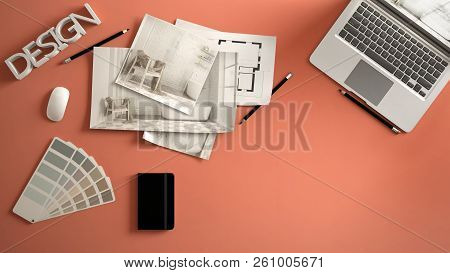 Architect Designer Concept, Red Work Desk With Computer, Paper Draft, Bedroom Project Images And Blu