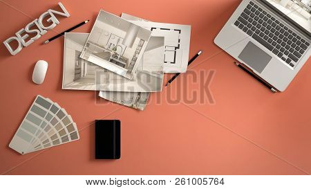Architect Designer Concept, Red Work Desk With Computer, Paper Draft, Kitchen Project Images And Blu