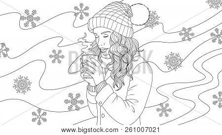 Vector Illustration Of A Beautiful Girl Drinking Coffee Outdoors In Winter, On A Blizzard Background