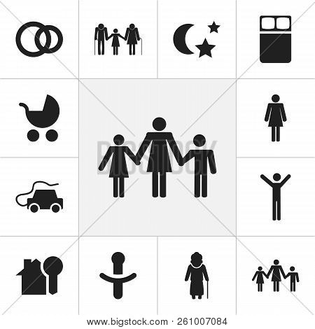 Set Of 12 Editable Relatives Icons. Includes Symbols Such As Happy Man, Pacifier, Kin And More. Can