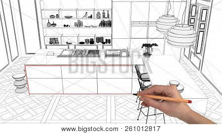 Interior Design Project Concept, Hand Drawing Custom Architecture, Black And White Ink Sketch, Bluep