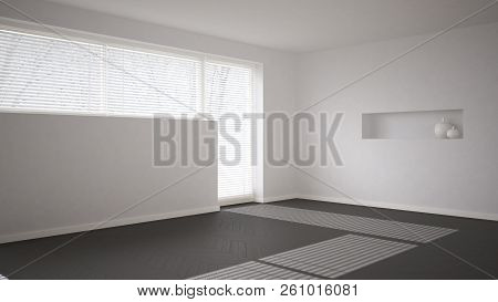Empty Room Background With Herringbone Parquet And Big Window With Venetian Blind, White And Gray Mo