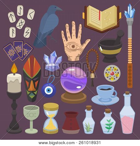 Fortune Telling Vector Fortune-telling Or Fortunate Magic Of Magician With Tarot Cards And Candles I