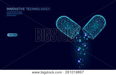 Opened Drug Capsule Medicine Business Concept. Banner Blue Glowing Medicament Prebiotic Probiotic Ba