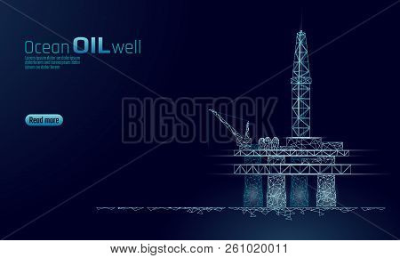 Ocean Oil Gas Drilling Rig Low Poly Business Concept. Finance Economy Polygonal Petrol Production. P
