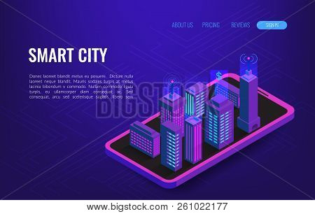 Smart City Isometric Concept. Building Automation With Computer Networking Illustration. Iot Platfor