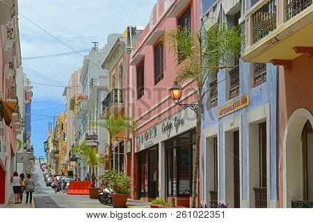 San Juan, Puerto Rico - Jun. 7, 2014: Historic Building On Calle De San Justo Between Calle De San F