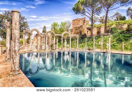 The Canopus, Ancient Pool In Villa Adriana, Tivoli, Italy