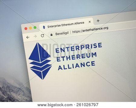 Amsterdam, Netherlands - October 1, 2018: Website Of The Enterprise Ethereum Alliance Or Eea,  A Pla