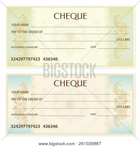 Check (cheque), Chequebook template. Gold lines pattern (Guilloche watermark). Background for ticket, Voucher, Gift certificate, blue Coupon, green banknote, money design, currency, bank note, check (cheque) poster