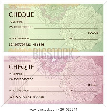 Check (cheque), Chequebook Template. Guilloche Pattern With Abstract Watermark. Background For Bankn