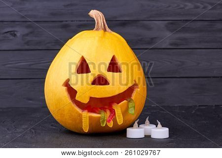 Funny Halloween Pumpkin On Dark Background. Halloween Pumpkin With Jelly Worms In Mouth, Funny Jack.