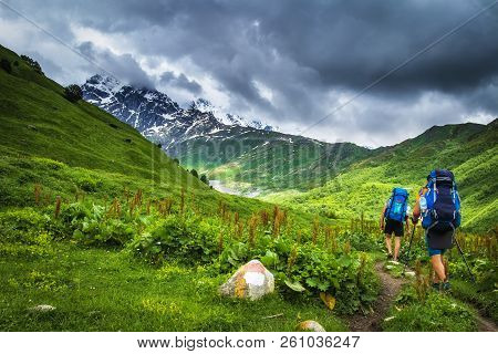 Hiking In The Mountains. Tourists With Backpacks In Mountain. Trekking In Svaneti Region, Georgia. T