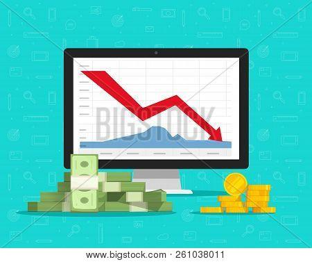 Loss Money On Computer Stocks Graphs, Vector Illustration, Flat Cartoon Pc And Cash Charts Down Arro