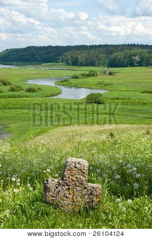 Travel in Russia. Pskov Region. Ancient site - Savkina gorka poster