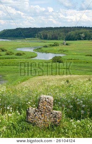 Travel in Russia. Pskov Region. Ancient site - Savkina gorka poster