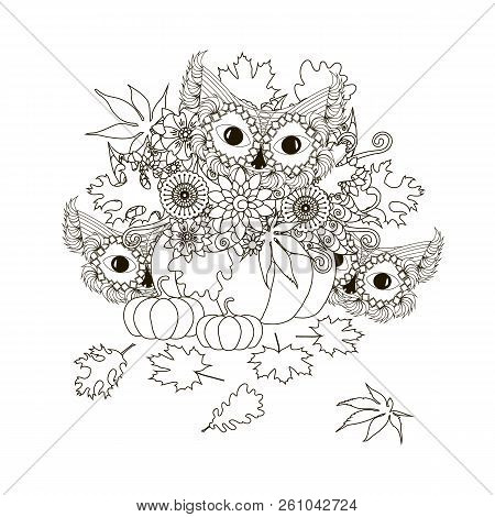 Pumpkins With Flowers, Maple And Oak Leaves, Cat Monochrome Typography Banner, Postcard Stock Design