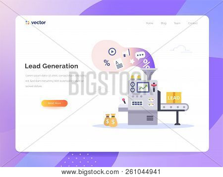 Managing Sales Vector Concept In Flat Style. Conveyor Generate Leads. Marketing Technology Vector Il