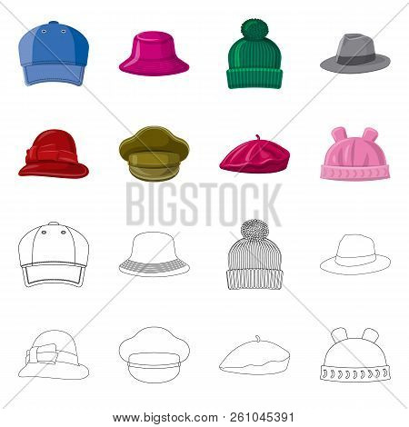 Vector Design Of Headgear And Cap Sign. Collection Of Headgear And Accessory Stock Vector Illustrati