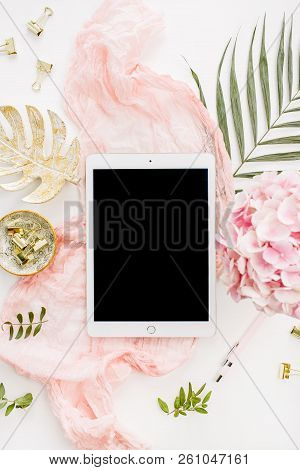 Modern Home Office Desk Workspace With Blank Screen Tablet, Pink Hydrangea Flowers Bouquet, Tropical