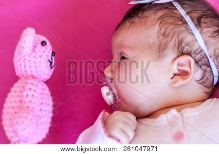 Funny Picture Of A Caucasian Newborn Infant Baby Girl Looking At The Teddy Bear Face To Face. Discov