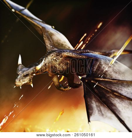 Fire Breathing Dragon Rushing In For Another Attack. 3d Rendering