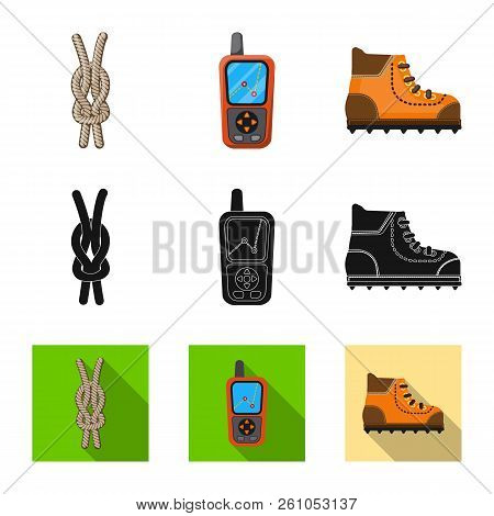 Isolated Object Of Mountaineering And Peak Icon. Collection Of Mountaineering And Camp Stock Vector