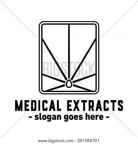 Medical Extracts Design. Medicinal Marijuana Leaf Logo.