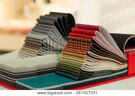Catalog Of Multicolored Imitation Leather From Matting Fabric Texture Background, Leatherette Fabric