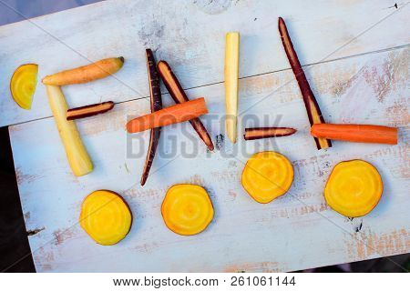Healthy Fall Vegetables On Wood Background Food And Healthy Eating Concept Flat Lay Autumn Vitamins