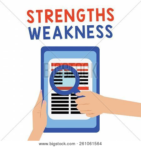 Handwriting Text Strengths Weakness. Concept Meaning Opportunity And Threat Analysis Positive And Ne