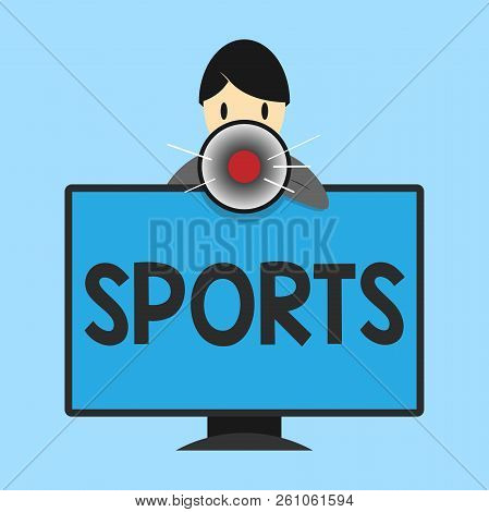 Word writing text Sports. Business concept for activity physical exertion and skill individual or team competes poster