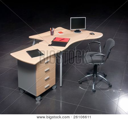 Modern business workplace with computer, standing alone. poster