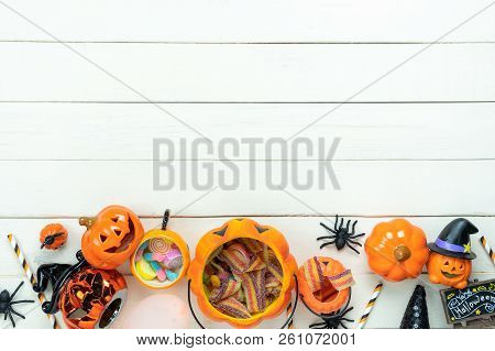 Table Top View Aerial Image Of Decoration Happy Halloween Day Background Concept.flat Lay Accessorie